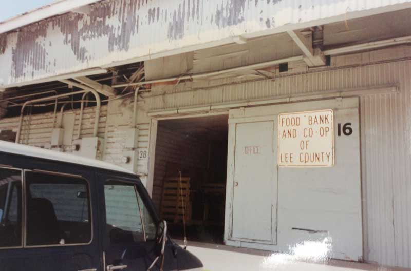 The back in the early '80s, at door 16 of the Farmers Market, home of the Food Bank and Cooperative of Lee County, the precursor of what eventually became the Harry Chapin Food Bank.